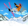 Extreme skiing freestyle mountain winter sport Royalty Free Stock Image