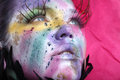 Extreme spattered make up on the face beautiful woman with Stock Images