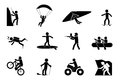 Extreme sports or adventure icons speleology and parachute swimming and paintball climb and skateboard vector illustration Stock Images