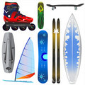 Extreme sports equipments vector Royalty Free Stock Image