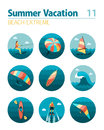 Extreme Water Sport icon set. Summer. Vacation Royalty Free Stock Photo