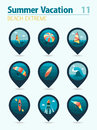 Extreme Water Sport pin map icon set. Vacation Royalty Free Stock Photo