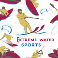Extreme water sports pattern Royalty Free Stock Photo