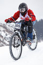 Extreme winter mountain bike contest Royalty Free Stock Image