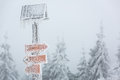 Extreme winter weather - hiking path sign covered with snow Royalty Free Stock Photo