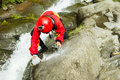 Extreme Work On Canyoning Route Royalty Free Stock Photo