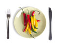 Extremely dinner red yellow and green pepper on a plate are isolated on the white Stock Images