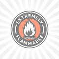 Extremely flammable icon. Fire hazard sign. Caution flame symbol