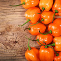 Extremely hot habanero peppers on wooden background Royalty Free Stock Photo