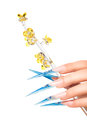 Extremely long nails with nail art and crystal jewellery Royalty Free Stock Images