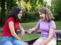 Exuberant sisters Royalty Free Stock Images