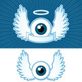 Eye with angel wings and banner Stock Photos