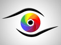 Eye aperture shows colour splash and chromatic representing color swatch Royalty Free Stock Photo