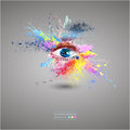 Eye, bright abstract background