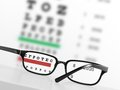 Eye chart looking through glasses at an blurred exam on background Royalty Free Stock Photos