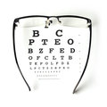 Eye chart test glass with on white background Royalty Free Stock Photo