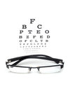 Eye chart test glass with on white background Stock Photography