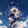 Eye on cloud head mans in painterly fashion Royalty Free Stock Images