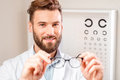 Eye doctor with glasses Royalty Free Stock Photo