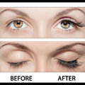 Eye and false eyelashes close beautiful eyes with natural to after Stock Photo