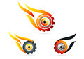 Eye flame gear logo technology vision wheel care symbol icon design set in a Stock Photos