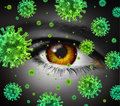 Eye infection as a contagious ocular disease transmitting a virus with human vision spreading dangerous infectious germs and Stock Images