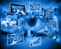 Eye internet and high technology surrounds mankind everywhere and from all sides Royalty Free Stock Images