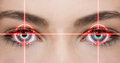 Eye laser konzept photo of eyes with red beam Royalty Free Stock Images