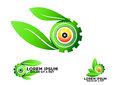 Eye, leaf, botany, gear, logo, green, vision, symbol, nature, care, optic, vector, icon, design, set