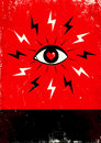 Eye and lightning red black poster with Stock Images