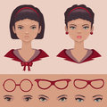 Eye lips and hair face head character parts Stock Images