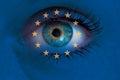 Eye Looks Through Europe Flag ...
