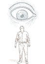 Eye that looks at a man illustration with an Royalty Free Stock Photos