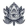 Eye on Lotus Tattoo Royalty Free Stock Photo