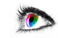 Eye macro in high key black and white with colourful rainbow in