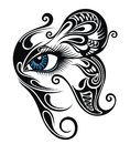 Eye make up with butterfly. Tattoo eye Royalty Free Stock Photo