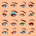 Eye Makeup Icons Set Royalty Free Stock Photo