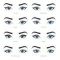 Eye makeup types. Eyeliner shape tutorial. Vector set with capti