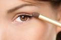 Eye makeup woman applying eyeshadow powder Royalty Free Stock Photo