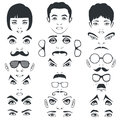 Eye mustache lips and hair face parts head character glasses Royalty Free Stock Images
