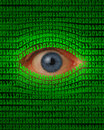 Eye peeking through binary code green Royalty Free Stock Photo