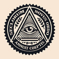 Eye of Providence. Masonic symbol. Conspiracy theory. parchment,
