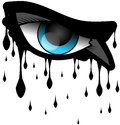 Eye with resolute look image representing an and black tears Stock Photo