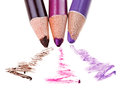 Eye shadow makeup pencil with stroke sample on white macro Royalty Free Stock Photography