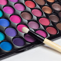 Eye shadows palette with makeup brush Royalty Free Stock Photo