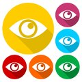 Eye sign icons set with long shadow
