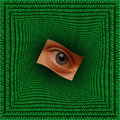 Eye in a square vortex of binary code Royalty Free Stock Images