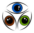 Eye symbol three colors of eyes abstract Royalty Free Stock Photography
