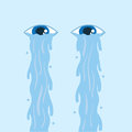Eye tears flowing down two floating eyes Stock Images