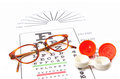 Eye test chart and glasses Royalty Free Stock Photo